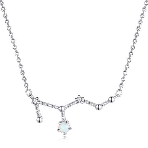 VIKI LYNN Leo Zodiac Necklace 925 Sterling Silver Created Opal Constellation Jewelry Birthday Gifts for Women Girls