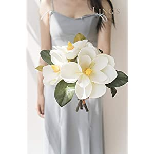 Ling's moment Pack of 6 Large Real Touch Artificial Magnolia Flowers Stems for DIY White Wedding Bouquets Centerpieces Arrangements Home Table Decor 4
