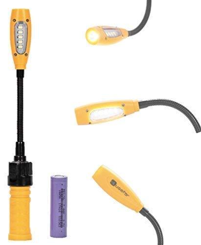 eLusefor Portable Magnetic Battery Powered Cordless 400 Lumens| Gooseneck Swivel LED Rechargeable Work Lamp w/ 3 Lighting Modes| for Car Repair, Workshop, Garage, Camping