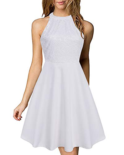 AUTCY Women's Summer Halter Neck Floral Lace Patchwork Casual Cocktail Party Dress(White - Cocktail Patchwork
