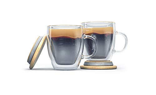 COFFEE MUGS Double wall glass coffee cup set of 2 16oz thick base large handle Double wall mug for your hot or cold beverages dishwasher microwave safe.perfect for you home cafe or restaurant