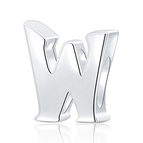 Hoobeads Authentic 925 Sterling Silver Letter Initial A-z Alphabet Beads Fits European Bracelet Charms(W)