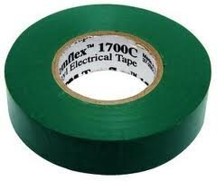 Temflex Vinyl Electrical Tape (3M Temflex 1700C Vinyl General Use Electrical Tape, 0 to 180 Degree C, 1000 mV Dielectric Strength, 66' Length x 3/4 Width, Green)