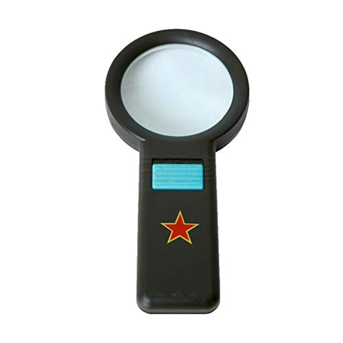 High magnification military enthusiast with photoelectric magnifying glass Multifunctional night magnifying glass non microscope portable 5 times magnifying glass (Color : BLACK) LIXFDJ Vision Assiste