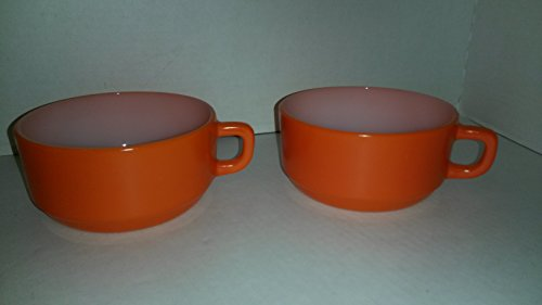 Set of 2 Rare Vintage Anchor Hocking Glass - Fire King - Orange Handled Soup Bowl / Oversized Mug -