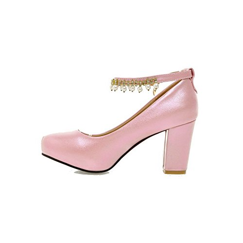 AllhqFashion Damen Rund Zehe Weiches Material Rein Schnalle Pumps Schuhe Pink