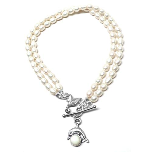 Sterling Silver Dolphin Mother-of-Pearl Oyster Shell Double Strand Cultured Freshwater Pearl Bracelet Toggle Clasp