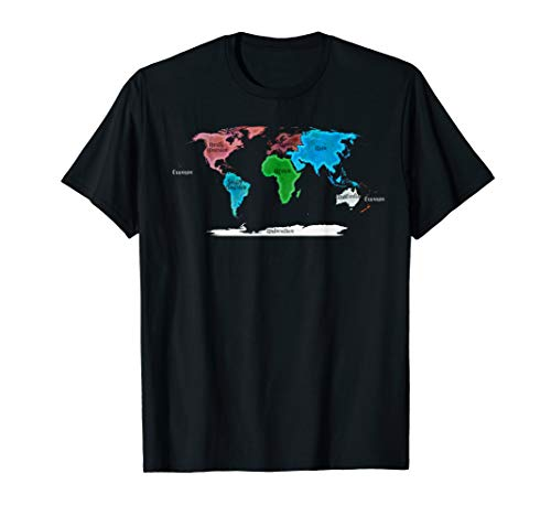 watercolor world map T-Shirt, names of all continents  T-Shirt