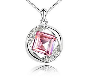Fashion Womens Pink Diamond Crystal Rhinestone Silver Chain Pendant Necklace -