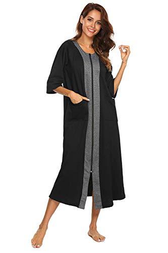 Bloggerlove Womens Loose Fit Zip-Front Robe Dress Cotton Short Sleeve Bathrobe Long Length Sleepwear Housecoat(Navy Blue,XXL)