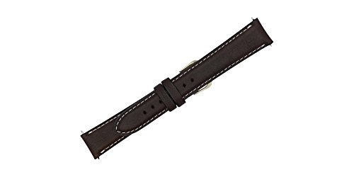 18mm Brown Soft Genuine Leather Replacement Watch Strap with Contrast Stitch MADE IN USA FBA130