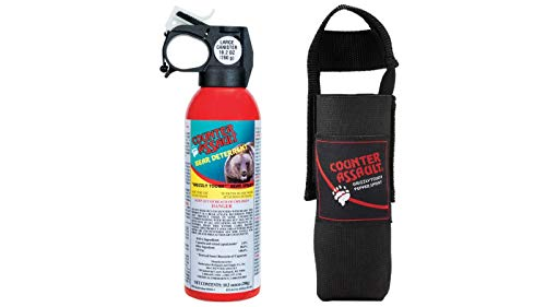 Counter Assault - EPA Certified, Maximum Strength & Distance Bear Repellent Spray - Hottest Formula Allowed by Law - Night Glow Locator & Tactical Holster Included (10.2 oz)