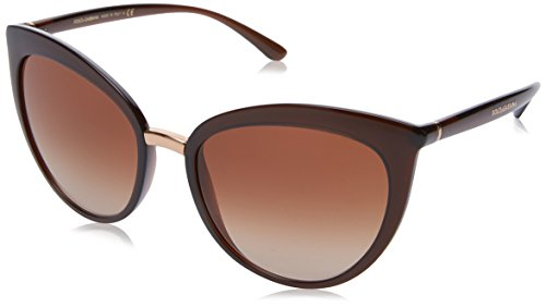Dolce & Gabbana Women's Essential Cat Eye Sunglasses, Transparent Brown/Brown, One - Glasses Eye Dolce Gabbana Cat
