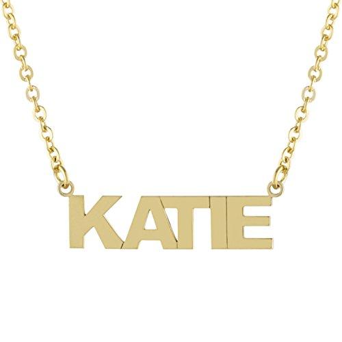 14k Gold Block Letter - 14K Gold Over Sterling Silver Custom-Made Nameplate Block Font Pendant Necklace, 16