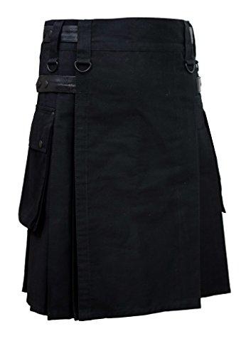Men Black Leather Straps Fashion Sport Utility Kilt Delux...