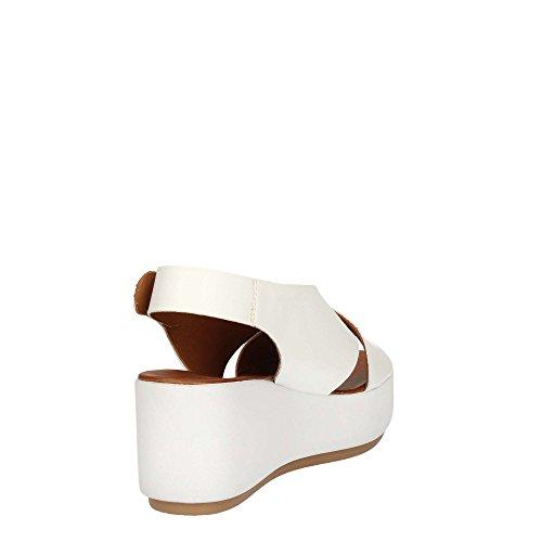INUOVO 7141 sandalias blancas blancas cruce de cuña de la plataforma de la Mujer Bianco