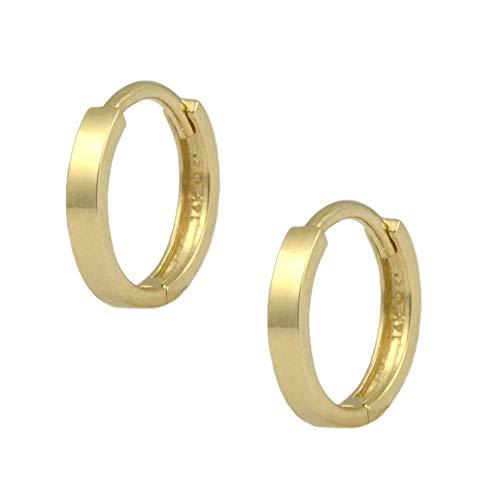 14K Yellow Gold Flat Edge Plain Huggie Hoop Earrings For Children