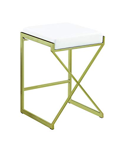Benjara BM196237 24 Inches Metal Framed Counter Height Stool with Leatherette Upholstered Seat, White and Gold