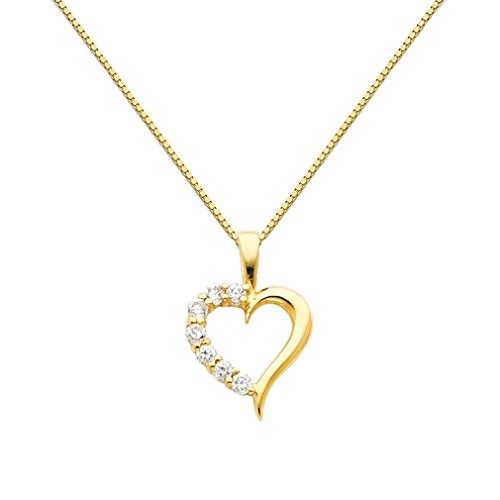 Wellingsale 14k Yellow Gold Polished Journey Heart CZ Cubic Zirconia Charm Pendant with 0.65mm Box Link Chain Necklace - (Cubic Zirconia Journey Pendant)