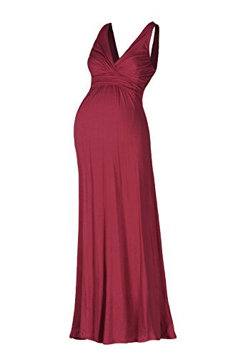 Beachcoco Women's Maternity Sleeveless V Neck Maxi Dress (L, Burgundy)