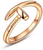 I's Rose Gold Plated Trust Love Nail Fashion Ring Holiday Gifts
