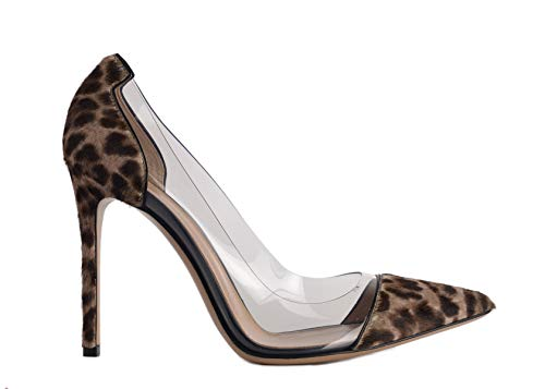 (Gianvito Rossi Womens Leopard Print Pony Transparent Pumps IT38.5/US8.5~RTL$815 Brown)