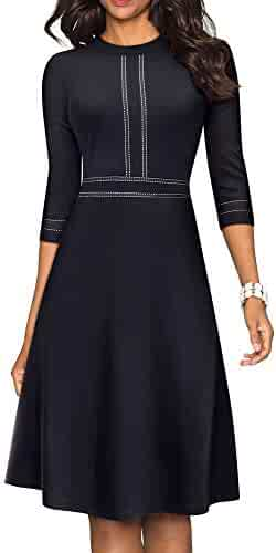 HOMEYEE Women's Chic Crew Neck 3/4 Sleeve Party Homecoming Aline Dress A135