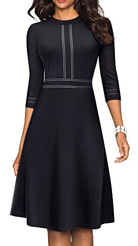 HOMEYEE Women's Chic Crew Neck 3/4 Sleeve Party Homecoming Aline Dress A135(6,Black)