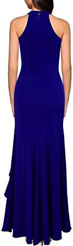 WOOSEA Women's High Neck Split Bodycon Mermaid Evening Cocktail Long Dress 2