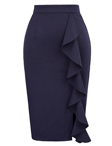 GRACE KARIN Women's Bodycon Pencil Party Ruffle Pencil Skirt Size XL Navy Blue