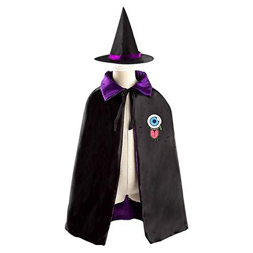 69PF-1 Halloween Cape Matching Witch Hat One-Eyed Monster Wizard Cloak Masquerade Cosplay Custume Robe Kids/Boy/Girl Gift Purple