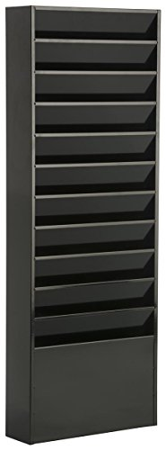 Displays2go File Folder Wall Rack with 11 Tiered Pockets, Office Filing Rack, Black Steel (JMFF11BLK) by Displays2go