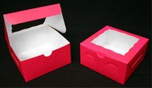 Golda's Kitchen Cake Box - 10 × 10 × 4 - Window - Pink - 10 pack