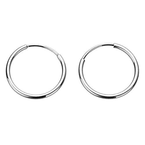 14K Gold 1.25mm Yellow, White or Rose Gold Thin Continuous Endless Hoops Plain Round Tube Hoop Earrings (White Double Gold Hoop)