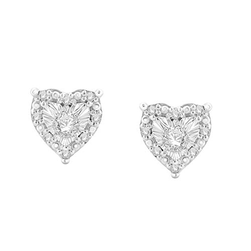Sterling Silver Best Selling Heart Shape Halo Genuine Diamond Stud Earrings 1/4ctw