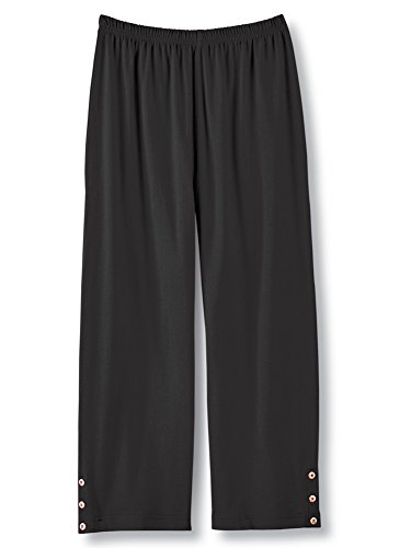 Collections Women's Cotton Elastic Waist Stretch Summer Capri Pants with Button Detail at Hem, Black, XX-Large (Button Hem Capris)