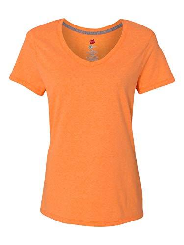 Hanes Women's X-Temp V-Neck Tee, Neon Orange Heather, Large