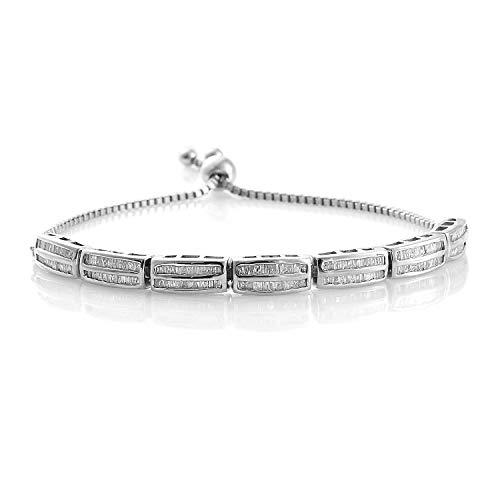 925 Sterling Silver Platinum Plated Baguette Diamond Tennis Bracelet for Women Cttw 1 Jewelry Gift