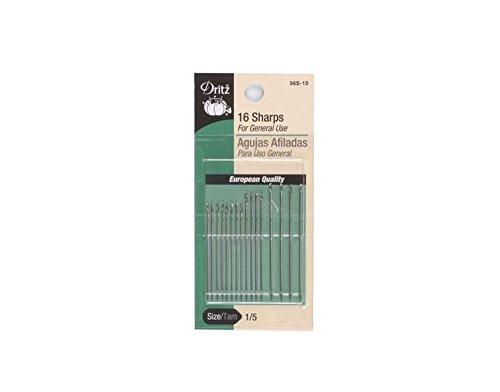 Dritz 16-Piece Sharps Hand Needles, Size 1/5 Prym Consumer USA 56S-15