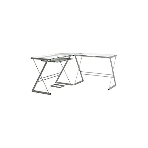- Gibson Living Madison L-Shaped Computer Desk in Silver