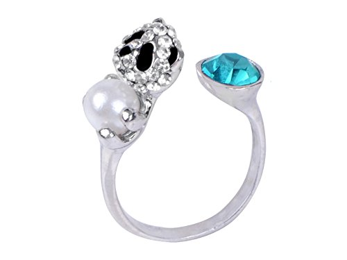 Alilang Womens Cute Aqua Blue Color Crystal Panda Bear Cub Hugging Pearl Adjustable Animal Ring