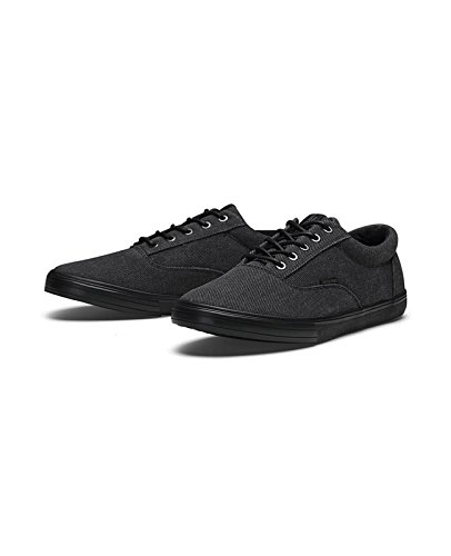 JACK & JONES Herren Sneaker jfwVISION WASHED TWILL Canvas Schuhe Low Top Grau (Anthracite)