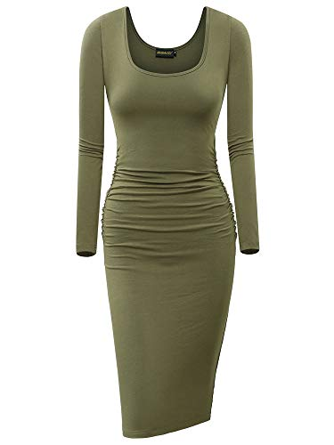 NASHALYLY Women's Ruched Casual Long Sleeve Knee Length Bodycon Basic Fitted Dress(G-C S)