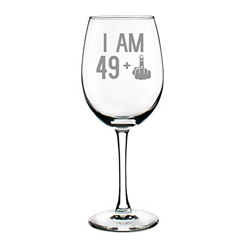 49 + One Middle Finger | 50th Birthday Wine Glass for Women & Men | Cute Funny Wine Gift Idea | Unique Personalized Bday Glasses for Best Friend Turning 50 | Drinking Party Decoration - Hill Birthday Glasses