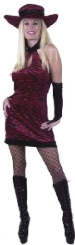 Women Sm (5-7) Red/Black Print Diva Costume (Hat, stockings and boots not incl). Great 70's, 80's, 90s Costume