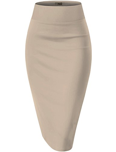 HyBrid & Company Womens Pencil Skirt for Office Wear KSK43584 1139 Stone XL ()