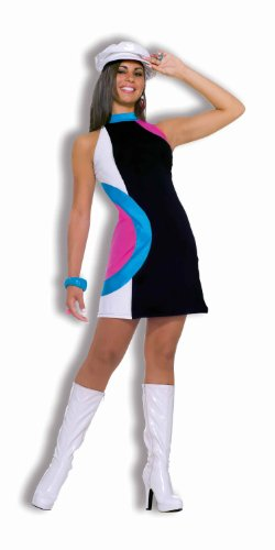 [Forum Novelties Women's 60's Generation Mod Doll Costume Dress, Multi-Color, Standard] (Go Go Dancer Halloween Costumes Women)