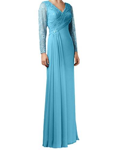 Damen Kleider Silber Linie Bodenlang Abendkleider Brautmutterkleider Chiffon Blau Rock A Jugendweihe Langarm Charmant d5XwxqnvSd