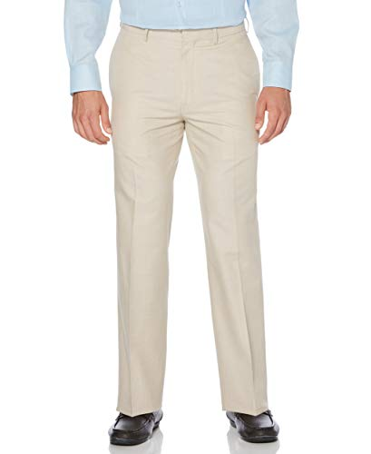 Cubavera Men's Big and Tall Linen-Cotton Herringbone-Textured Pant, Natural, 46W X 28L (Best Guayaberas In Miami)