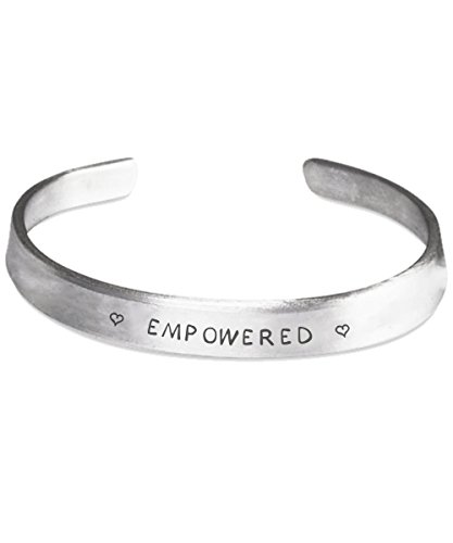 Empowered - Self Affirmation Bracelet; Engraved Stamped Cuff Bracelet, Silver Color